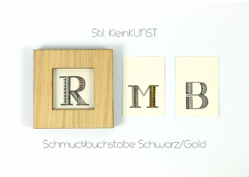Schmuckbuchstabe Schwarz/Gold